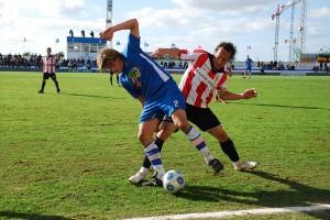 Jugada del Sporting - Logroñes en bintaufa en el partido de ida.