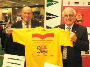 Bolao y Forteza presentando la camiseta del ascenso a Primera