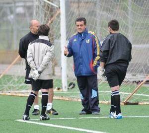 Toni Barea con los porteros de la Selección