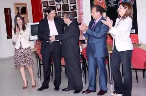 Pons, Alemany, Vidal, Vaquer y Garcías en la sala de trofeos del Ono Estadi