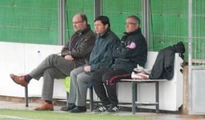 Alemany con Nando Pons y Manzano en las instalaciones de Son Bibiloni