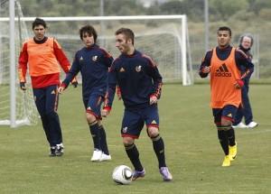 Sergi Darder con en el entrenamiento de hoy