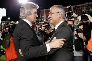 Manzano y Pellegrini antes del encuentro