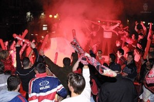 Celebración de la Copa de Rey de 2002-03 en la plaza de las tortugas