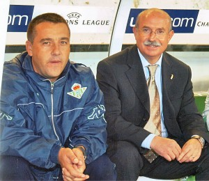 Pep Alomar y Serra Ferrer en el banquillo del Betis