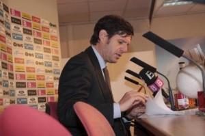 Mateu Alemany, consejero delegado y propietario del Real Mallorca, durante una rueda de prensa.