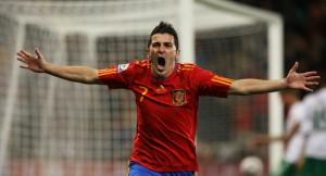 Villa celebrando el gol