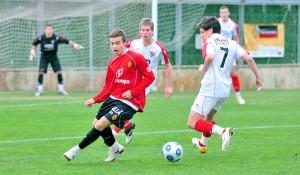 Alex Gallar con el número 7 frente al Mallorca Juvenil DH en Son Bibiloni