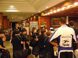 Un momento de la llegada al hotel.