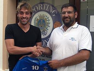 Ruben Carreras con Miguel Olives en su regreso al Sporting