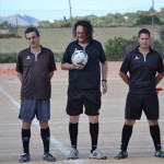 El trio arbitral de la final