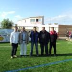 El presidente del club con representantes de la FFIB