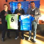 Miquel Jaume epresidente del club, Eder y José tirado director deportivo del club