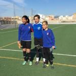 Cata con las porteras Sub-12 Blanca Noguera y Alba T. Salazar